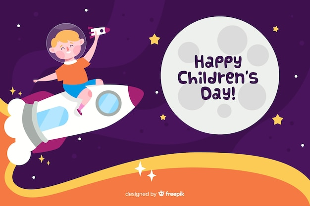 Flat children's day with child on a space rocket Free Vector