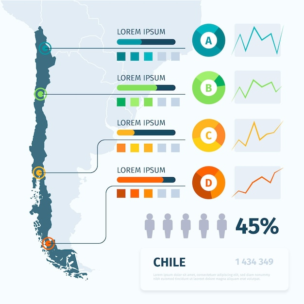 Flat chile map infographic Free Vector