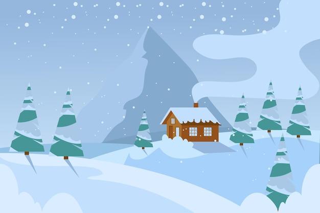 평평한 차가운 겨울 풍경 배경 무료 벡터
