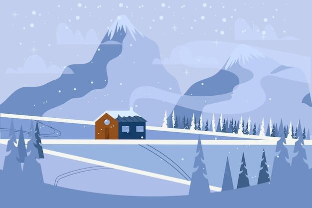 평평한 추운 겨울 풍경 무료 벡터