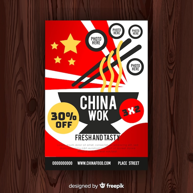Flat chinese food flyer template Free Vector