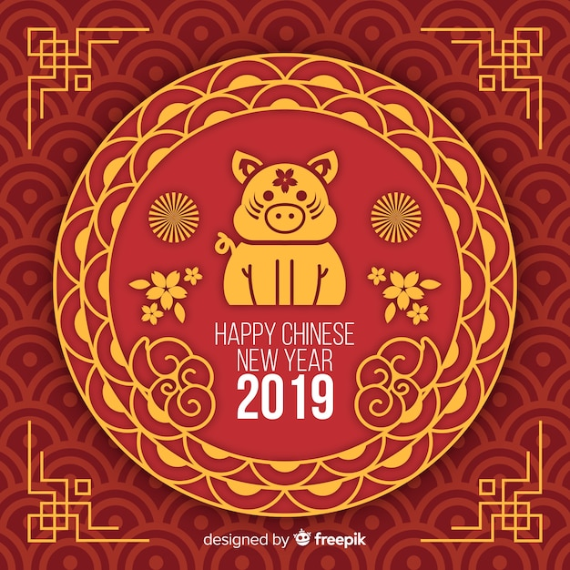 Flat chinese new year 2019 background Free Vector