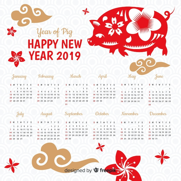Free Vector Flat Chinese New Year 2019 Calendar