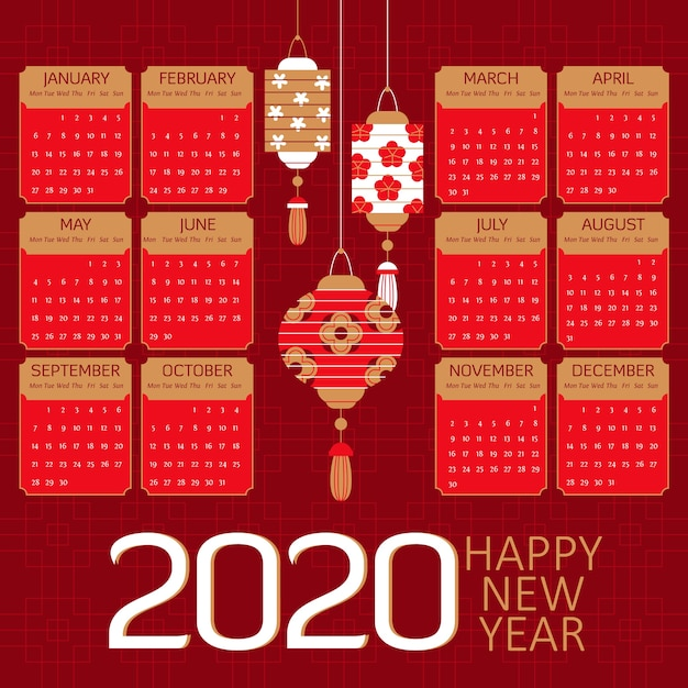 Flat chinese new year calendar and red paper lanterns Free Vector