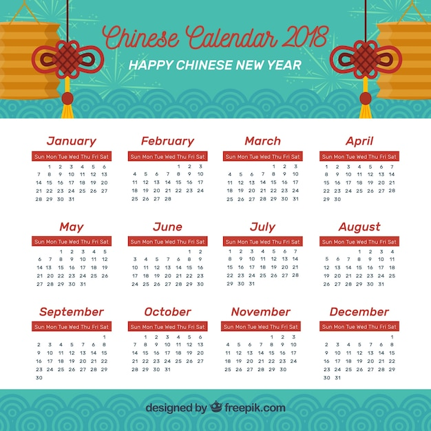Flat chinese new year calendar Free Vector