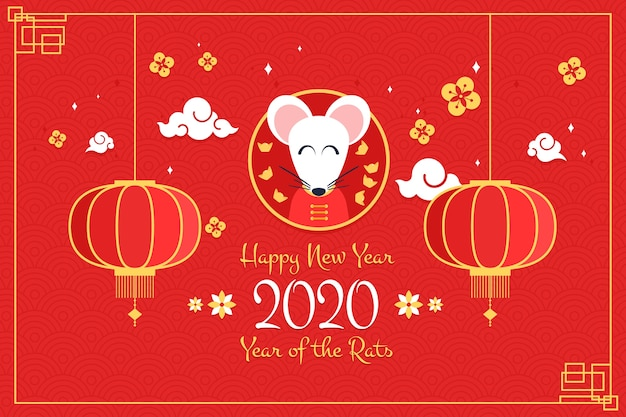 Flat chinese new year and cute mouse with lanterns Free Vector