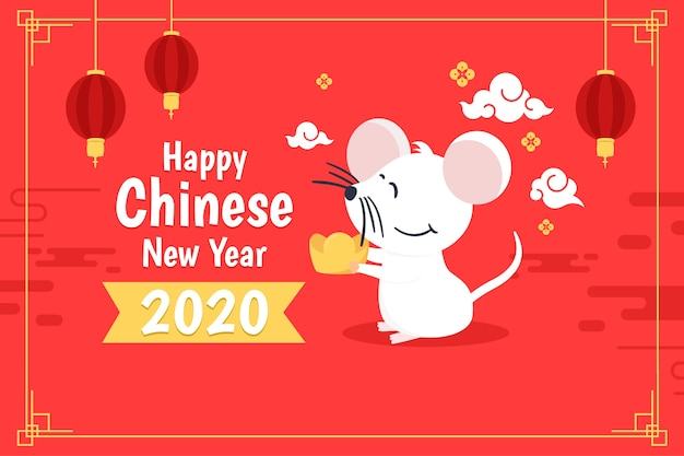Flat chinese new year on red shades Free Vector