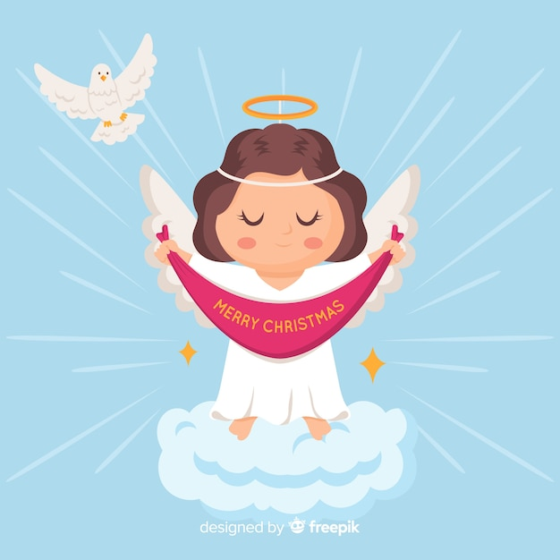 Flat christmas angel background Free Vector