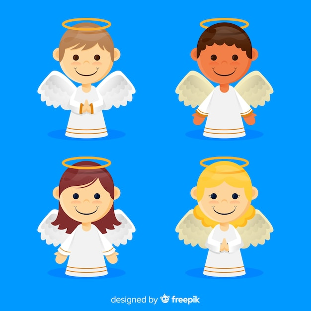 Flat christmas angel set Free Vector