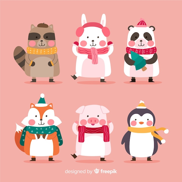 Flat christmas animals characters collection Free Vector
