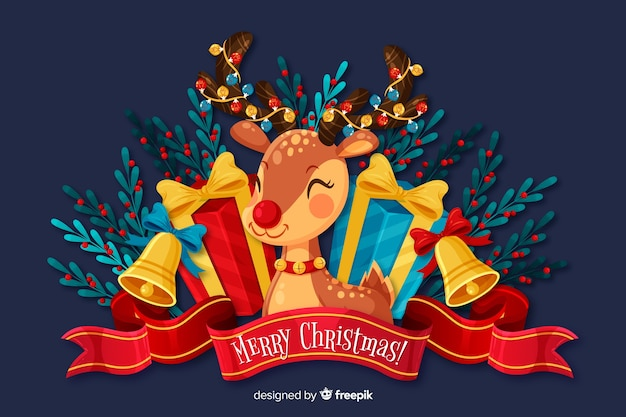 Flat christmas background and cute deer Free Vector