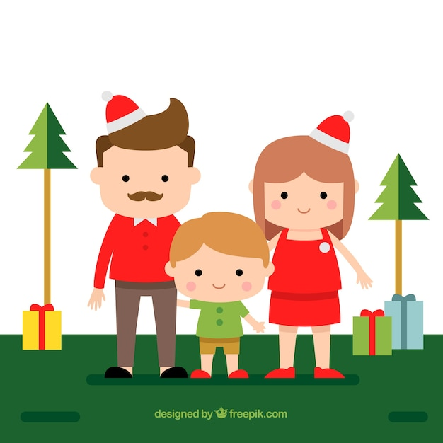 Flat christmas background with a family scene