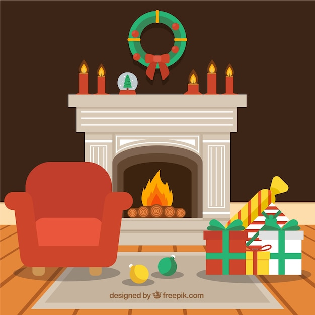 Flat christmas background with a fireplace scene