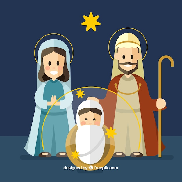 Flat christmas background with a nativity scene
