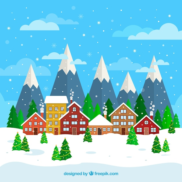 Flat christmas background with a town by the mountains Free Vector