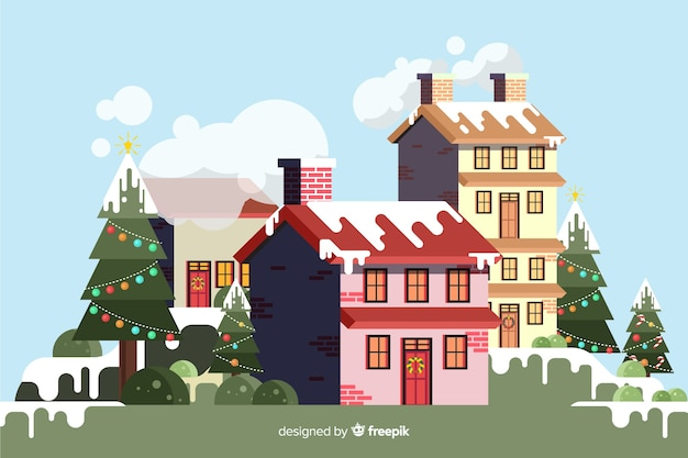 Flat christmas background with buildings covered in snow Free Vector