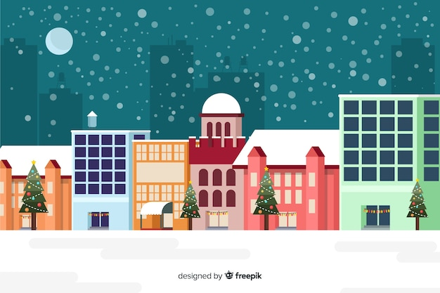 Flat christmas background with buildings ready for xmas Free Vector