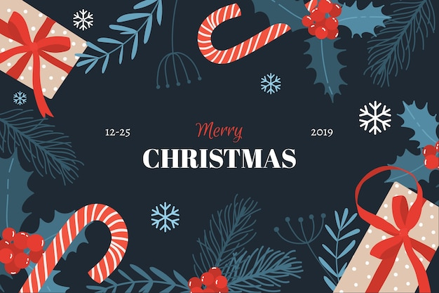 Flat christmas background with candy canes Free Vector