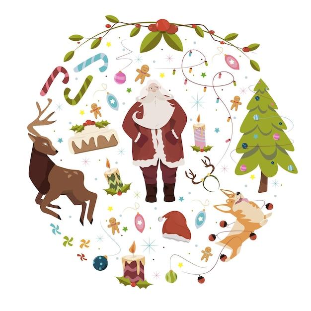 文字とフラットなクリスマスの背景 Premiumベクター