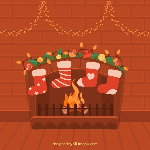 flat christmas background with chimney vector free download
