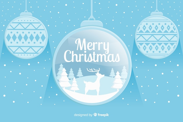 Flat christmas background with christmas balls Free Vector