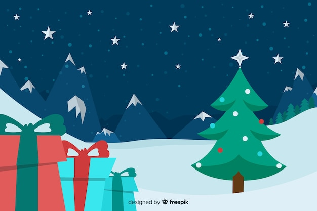 Flat christmas background with christmas tree and gifts Free Vector