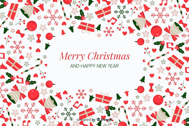 Flat christmas background with decoration and gifts Free Vector