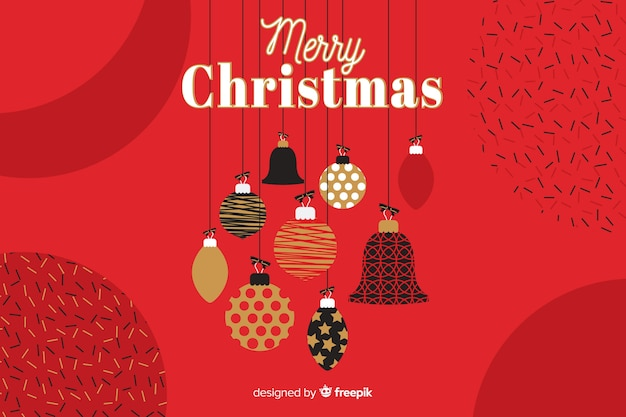 Flat christmas background with greeting Free Vector