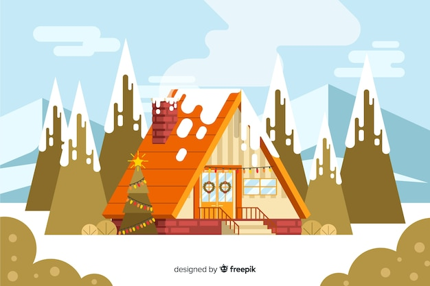 Flat christmas background with house surrounded by trees Free Vector