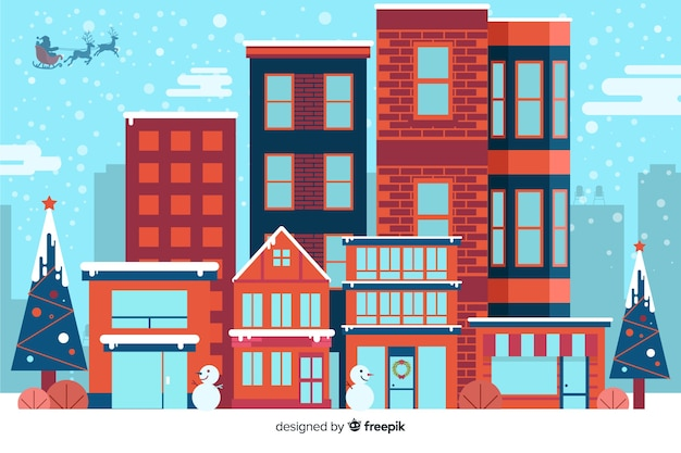 Flat christmas background with houses ready for xmas Free Vector