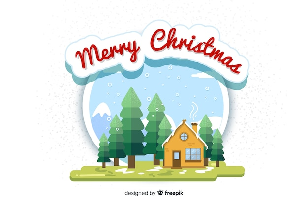 Flat christmas background with merry christmas Free Vector