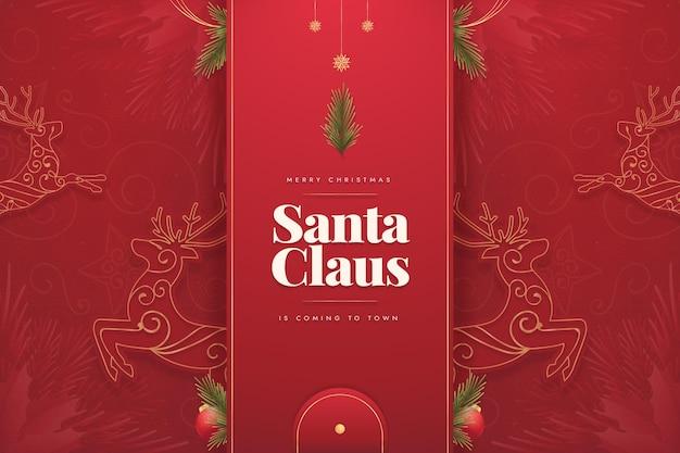 トナカイとフラットなクリスマスの背景 無料ベクター