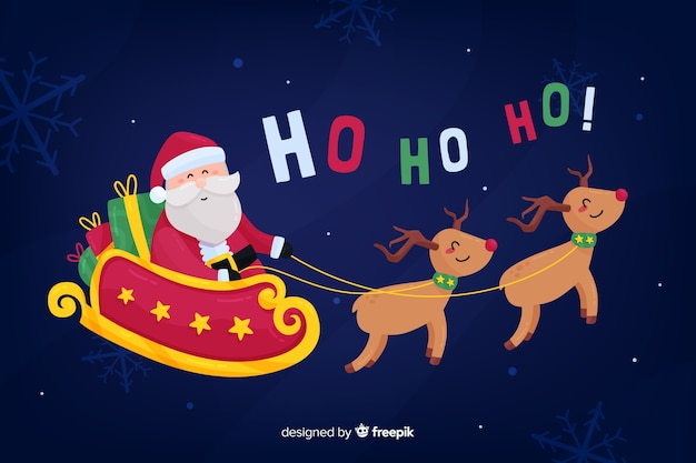 Flat christmas background with santa claus riding sledge Free Vector