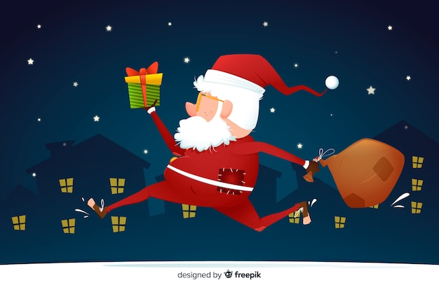 Flat christmas background with santa claus running Free Vector