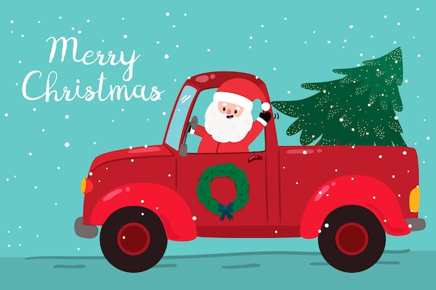 Flat christmas background with santa Free Vector
