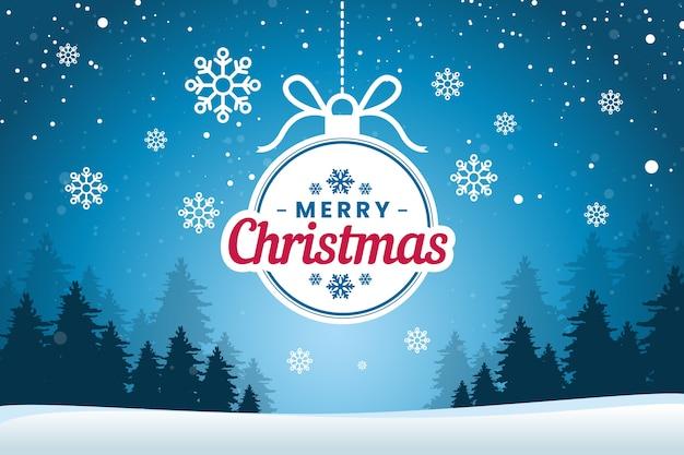 Плоский новогодний фон со снежинками Premium векторы