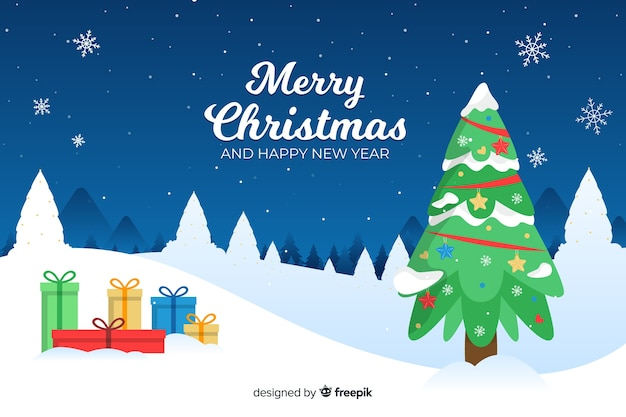 Flat christmas background with tree and gifts Free Vector