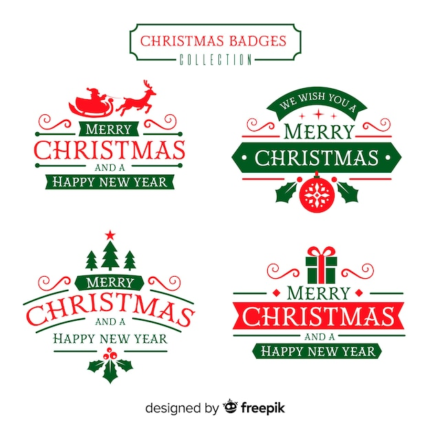 Flat christmas badge collection Free Vector
