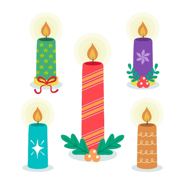 Flat christmas candle collection Free Vector