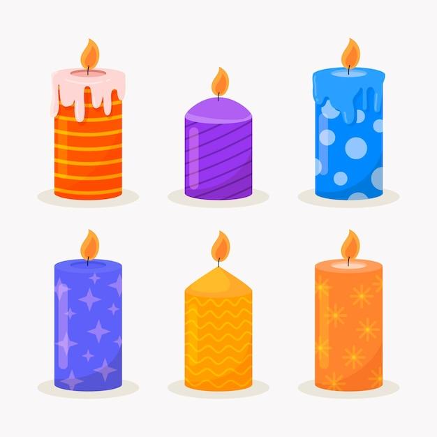 Collezione di candele natalizie piatte Vettore gratuito