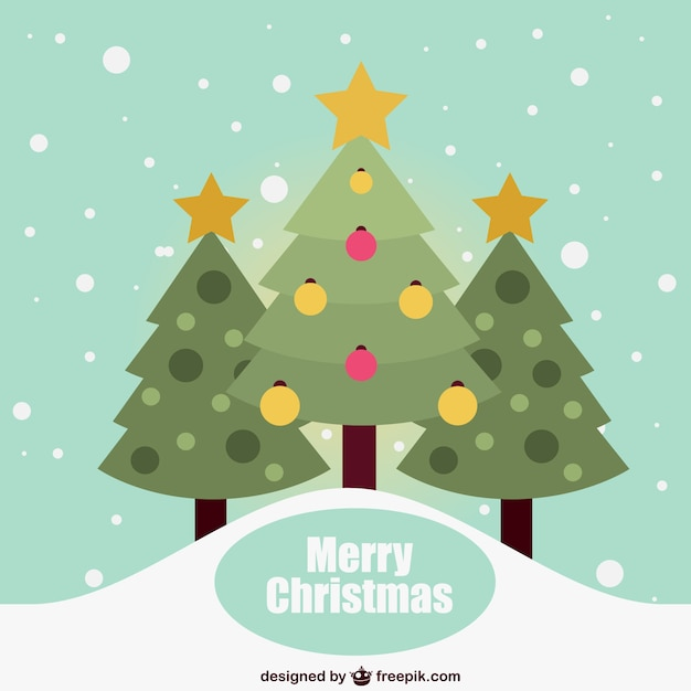 Flat christmas card with trees Free Vector