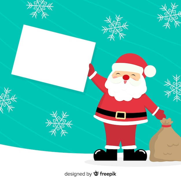 Flat christmas character holding white empty card Free Vector
