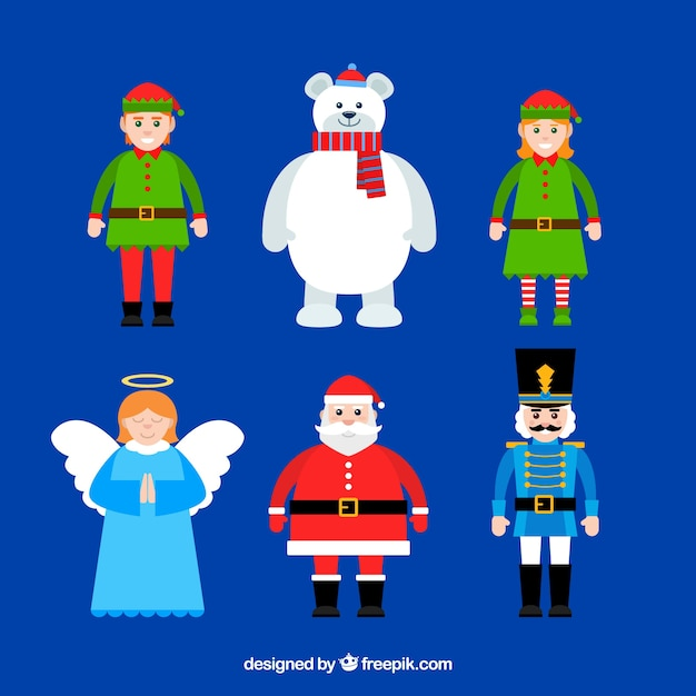 Flat christmas character pack Free Vector