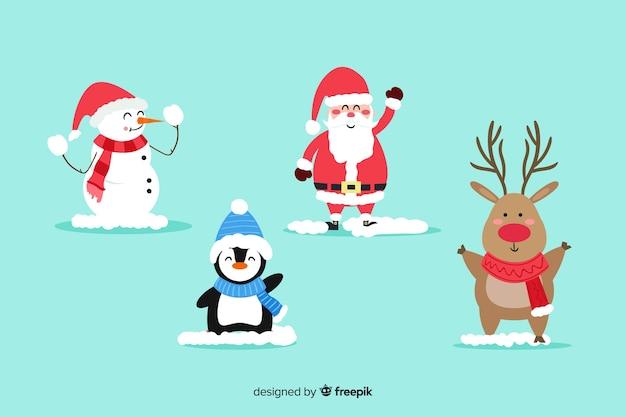 Коллекция плоских рождественских персонажей Бесплатные векторы