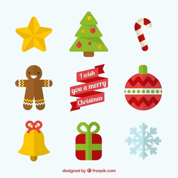 Flat Christmas Decoration Vector