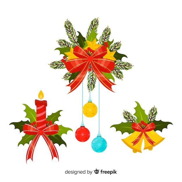 Flat christmas decoration Free Vector