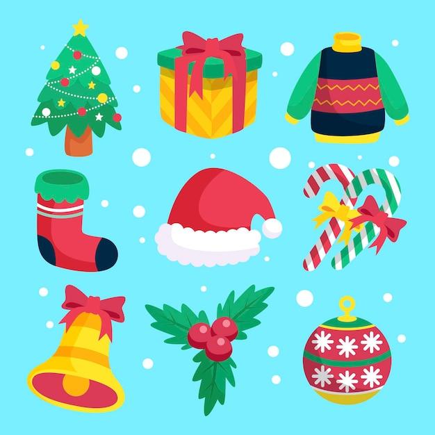 Плоская рождественская коллекция элементов Premium векторы
