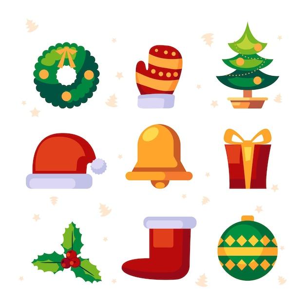 Плоская рождественская коллекция элементов Бесплатные векторы