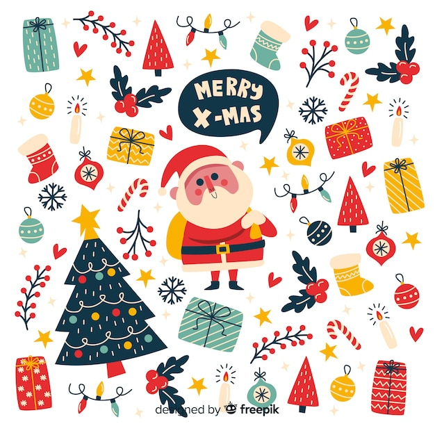 Flat christmas element collection Free Vector