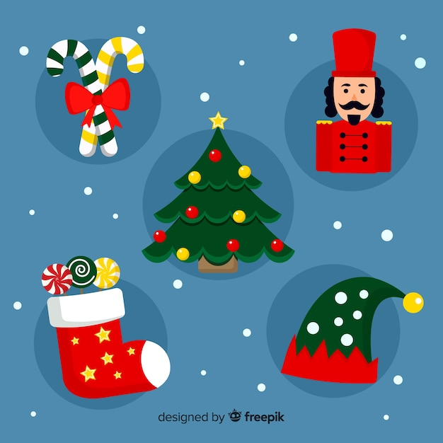 Flat christmas element pack Free Vector